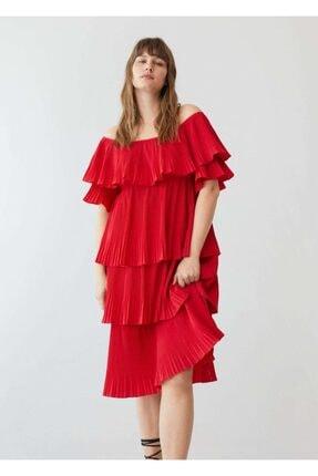 Mango Kadın Pilili Fırfırlı Elbise
