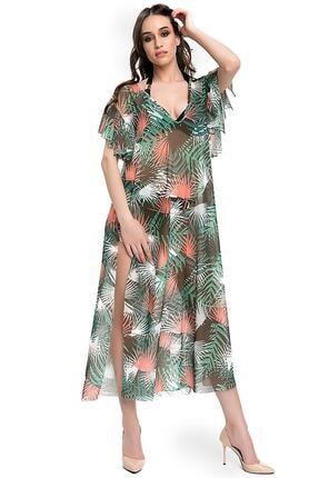 Armes Kadın Tropikal Desenli Yırtmaçlı Uzun Panço Pareo Armsp-9223-803