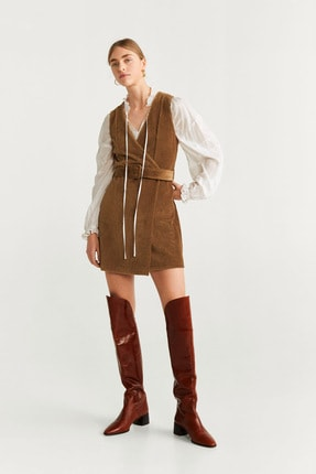 Mango Kadın Orta Kahverengi Elbise 57075915