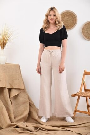 İroni Kadın Gri Beli Lastikli Bağcıklı Taş Bol Paça Pantolon