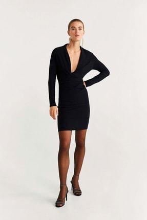 Mango Kadın Siyah Elbise 57009217