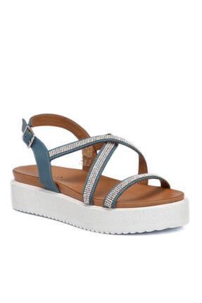 Tergan Kadın Mavi Deri Sandalet 65491j61