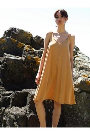 Vekem Kadın Hardal Sarısı Askılı Elbise