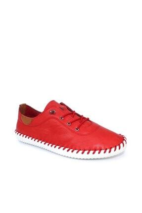 Beta Hakiki Deri Kadın Kırmızı Günlük Ayakkabı
