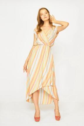 Batik Kadın Turuncu Çizgili Casual Elbise Y42686 Dkm