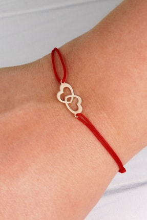 Ejoya Kadın Kırmızı 14 Ayar Altın Çift Kalp Bileklik 88868