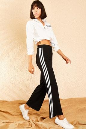 Bianco Lucci Kadın Siyah İspanyol Paça Fitilli Üç Çizgili Kaşkorse Pantolon 10111041