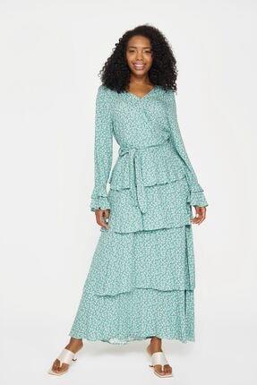 Batik Kadın Yeşil Desenlı Casual Elbıse