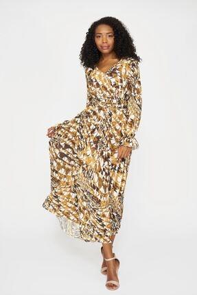 Batik Kadın Kahverengi Y42565 Dkm Desenlı Casual Elbıse