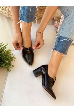 Kadın Siyah Bağcıklı Topuklu Ayakkabı B722