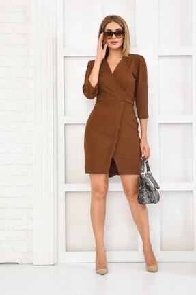 İroni Kadın Kahverengi Kruvaze Örme Mini Elbise