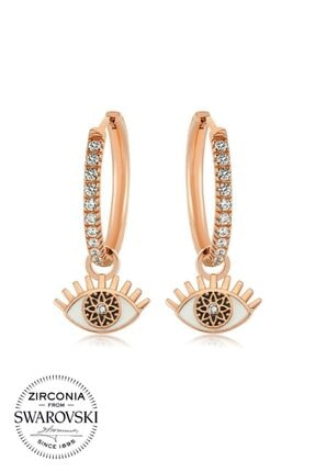 Valori Jewels Büyülü Nazar Gözü, Beyaz Swarovski Zirkon Taşlı, Rose Gümüş Orta Boy Halka Charm Küpe