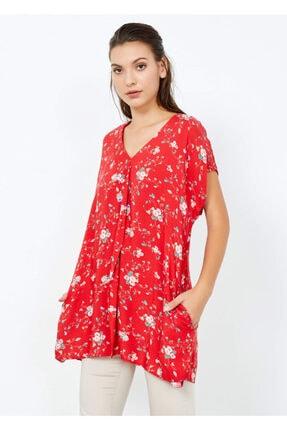 Cazador Kadın Kırmızı Kısa Kol Fırfırlı Tunik