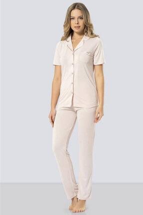 TÜREN Kadın Pudra Mini Puantiye Desenli Düğmeli Pijama Takımı 3291