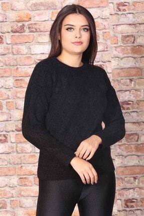 Madmext Kadın Siyah Desenli Kazak Mg698