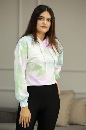 Madmext Kadın Pembe Kapüşonlu Batik Sweatshirt Mg667