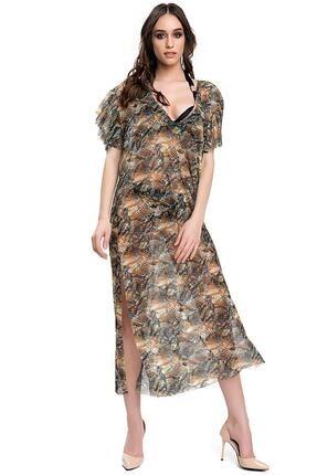 Armes Kadın Yeşil Yılan Derisi Desenli Yırtmaçlı Uzun Panço Pareo Armsp-9223-801