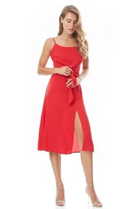 Keikei KadınKırmızı Krep Kolsuz Orta Boy Elbise