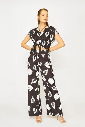 Batik Kadın Siyah Desenli Casual Pantolon Y42670