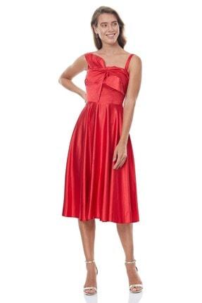Keikei Kadın Kırmızı Saten Kolsuz Orta Boy Elbise