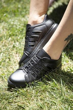 Ayakkabı Modası Kadın Siyah Spor Ayakkabı 4 Bantlı