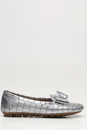 Ayakkabı Modası Kadın Gümüş Krokan Babet