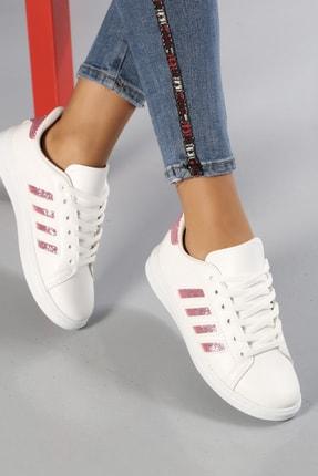Ayakkabı Modası Kadın Beyaz Simli Spor Ayakkabı 4 Bantlı
