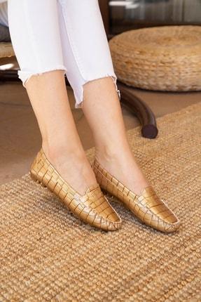 Ayakkabı Modası Kadın Kahverengi Krokan Babet