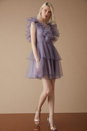 Keikei Kadın Mor Tül Kolsuz Kısa Elbise