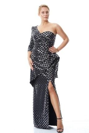 Keikei Kadın Siyah Gümüş Detaylı Büyük Beden Pul Payetli Krep Tek Kol Uzun Elbise