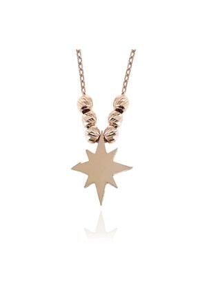 SilverPlus Kadın Beyaz Zirkon Taşlı Rose Gümüş Kutup Yıldızı  Kolye