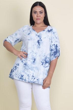 Şans Kadın Mavi Batik Desenli Kol Apoletli V Yakalı Tunik 65N17871