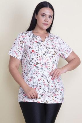 Şans Kadın Renkli Gizli Pat Düğmeli Çiçek Desenli Bluz 65N17958