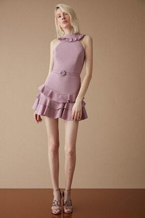 Keikei Kadın Lila Krep Kolsuz Kısa Elbise