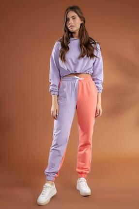 Y-London Kadın Somon Lila İki Renkli Paçası Lastikli Örme Eşofman Altı Y20W134-2071