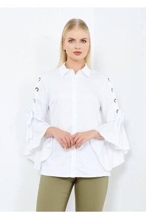 Cazador Kadın Beyaz Kol Detaylı Gömlek Beyaz 42
