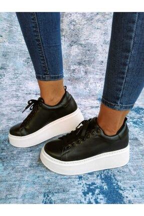 Kadın Siyah Beyaz Topuklu Spor Ayakkabı OK060920A001