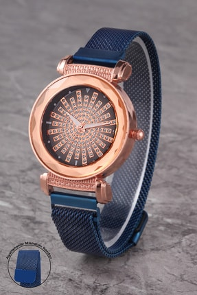 Polo55 Plkhm017r02 Kadın Mavi Tasarım Prizma Kadran Mıknatıslı Hasır Kordon Kol Saati