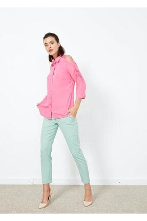 Cazador Kadın Pembe Omuz İp Detaylı Yarım Kol Gömlek