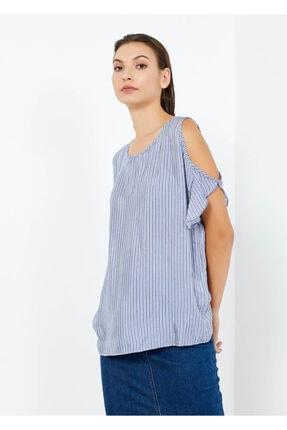 Cazador Kadın Mavi Çizgili Omuz Detaylı Bluz