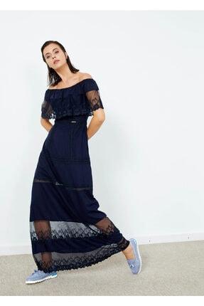 Cazador Kadın Lacivert Güpürlü Uzun Elbise