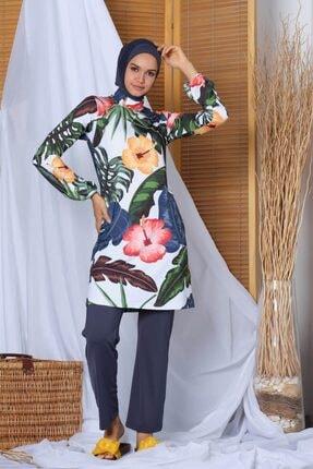 ALFASA Kadın Gri Miami Balkon Kol Havuz Modeli Tesettür Mayo Haşema