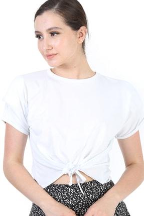 YOYOSO Kadın Beyaz Önü Bağlamalı Vatkalı Bluz