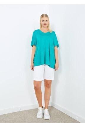 Cazador Kadın Yeşil V Yaka Basic  T-Shirt