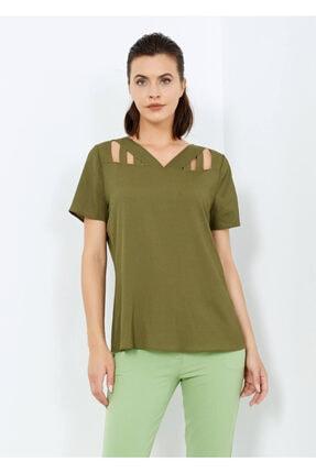 Cazador Kadın Haki Yaka Detaylı Bluz
