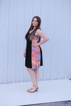 Kadın V Yaka Siyah Renkli Yanları Desenli Büyük Beden Yazlık Elbise MGSVYD01