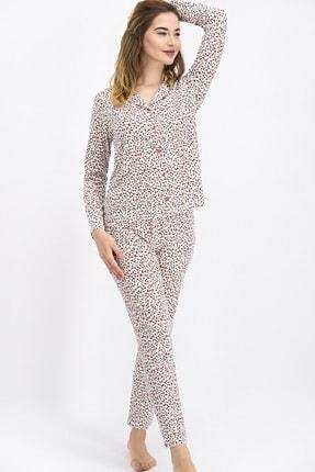Arnetta Stamped Bayan Uzun Kol Gömlek Pijama Takımı