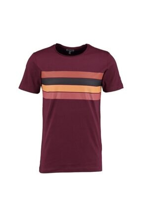 Erkek Bordo Sıfır Yaka T-shirt INT0626HM