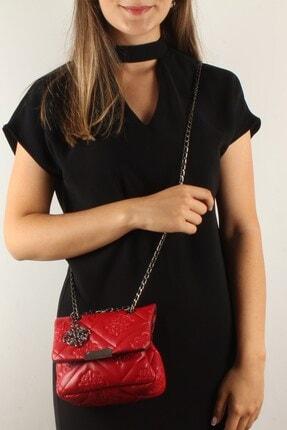 Luwwe Bag's Kadın Kırmızı Motif Işlemeli Zincir Askılı Mini Omuz Çantası (20370)