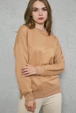 Sateen Kadın Camel Bol Kesim Uzun Sweatshirt